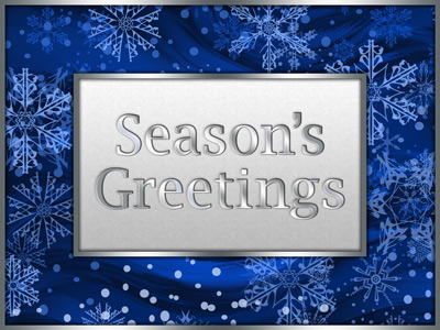 This blue and silver holiday eCard emulates the style of traditional printed holiday greeting cards.