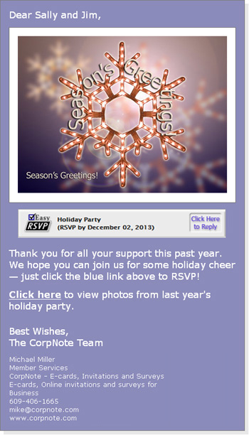 Our online invitation manager enables event eCard invitations to be sent with rsvp response tracking.